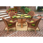 "5 Piece Diamond Natural Wicker Dining Set 48""  - TEAWASH"