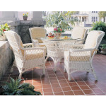 Vintage Natural Wicker Dining Set - WHITE