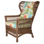 Columbia Wicker Wing Chair - COFFEE