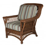 Lancaster Natural Wicker Chair with Magazine & Glass Holder High Back - COFFEE