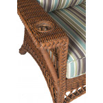 Lancaster Natural Wicker Chair with Magazine & Glass Holder High Back - ARM WITH CUP HOLDER