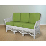 Capri Rattan Framed Natural Wicker Sofa - WHITE