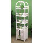 Wicker Etagere With Lower Door, White -