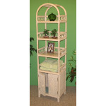 Wicker Etagere With Lower Door, Whitewash -