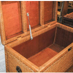 Wicker Trunks or Chests, Large Woodlined WhiteWash - INTERIOR TRUNK WITH PNEUMATIC LIFTER