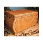 Large Woodlined Bombay Wicker Storage Trunk Caramel -