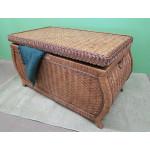 Large Woodlined Bombay Wicker Storage Trunk-Teawash - TEAWASH