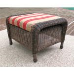 Laguna Beach Resin Wicker Ottoman  - ANTIQUE BROWN