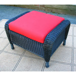 Laguna Beach Resin Wicker Ottoman  - BLACK