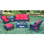4 Piece Laguna Beach Resin Wicker Patio Furniture with Sofa, Chair, Rocker & Table - BLACK