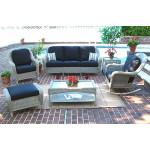 4 Piece Laguna Beach Resin Wicker Patio Furniture with Sofa, Chair, Rocker & Table - DRIFTWOOD