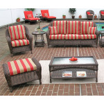 5 Piece Laguna Beach Resin Wicker Furniture Set with Sofa, Chair, Otto & 2 Tables - ANTIQUE BROWN