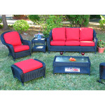 5 Piece Laguna Beach Resin Wicker Furniture Set with Sofa, Chair, Otto & 2 Tables - BLACK