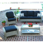 5 Piece Laguna Beach Resin Wicker Furniture Set with Sofa, Chair, Otto & 2 Tables - DRIFTWOOD