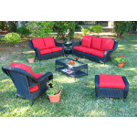6 Piece Laguna Beach Resin Wicker Patio Furniture with Sofa & Love Seat - BLACK