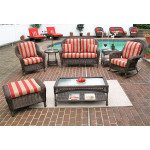 6 Piece Laguna Beach Resin Wicker Set with Love Seat, Chair, Rocker. Otto & 2 Tables - ANTIQUE BROWN
