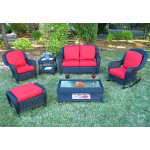 6 Piece Laguna Beach Resin Wicker Set with Love Seat, Chair, Rocker. Otto & 2 Tables - BLACK