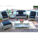 6 Piece Laguna Beach Resin Wicker Set with Love Seat, Chair, Rocker. Otto & 2 Tables - DRIFTWOOD