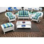 6 Piece Laguna Beach Resin Wicker Set with Love Seat, Chair, Rocker. Otto & 2 Tables - WHITE