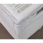 Medium Wicker Hamper, Cloth Lined, White - TOP, CORNER