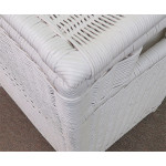 Large Wicker Hamper with Cloth Lining, White - WHITE, TOP CORNER