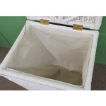 Large Wicker Hamper with Cloth Lining, White - WHITE OPEN