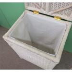 Large Wicker Hamper with Cloth Lining, Whitewash - WHITEWASH OPEN