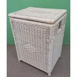 Medium Wicker Hamper, Cloth Lined, Whitewash     - WHITEWASH