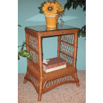 Rectangular Ashley Wicker Tower Table with Glass Top (4 colors) - TEAWASH