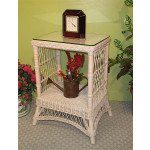 Rectangular Ashley Wicker Tower Table with Glass Top (4 colors) - WHITEWASH