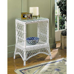 Rectangular Ashley Wicker Tower Table with Glass Top (4 colors) - WHITE