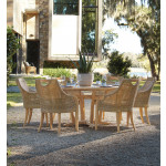 """Lane Venture Edgewood Resin Wicker and Teak 48"""" (5) Piece Round Dining Set with Cushions, 4 Chairs - PEBBLESTONE"""