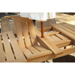 """Lane Venture Edgewood Resin Wicker and Teak (7) Piece Dining Set with Cushions 89""""  - DETAIL,LEAVES"""