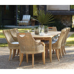 "Lane Venture Edgewood Resin Wicker and Teak (7) Piece Dining Set with Cushions 89""  - PEBBLESTONE"