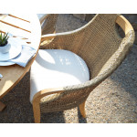 """Lane Venture Edgewood Resin Wicker and Teak 63"""" (7) Piece Round Dining Set with Cushions, 6 Chairs - TOP VIEW"""