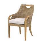 """Lane Venture Edgewood Resin Wicker and Teak 63"""" (7) Piece Round Dining Set with Cushions, 6 Chairs - ARM CHAIR"""