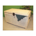 Wicker Trunks or Chests, Large Woodlined WhiteWash -