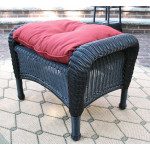 Malibu Wicker Ottoman  - BLACK