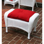 Malibu Wicker Ottoman  - WHITE