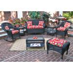 4 Piece Malibu Resin Wicker Set with 2-Chairs - BLACK