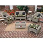 4 Piece Malibu Resin Wicker Set with 2-Chairs - DRIFTWOOD