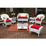 4 Piece Malibu Resin Wicker Set with 2-Chairs - WHITE