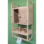 Wicker Cabinet With Towel Bar, White Wash -