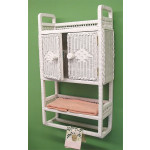 Wicker Cabinet With Towel Bar, White -