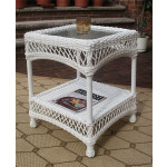 Madrid Resin Wicker End Table - WHITE