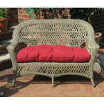 Madrid Resin Wicker Loveseat with Cushion - DRIFTWOOD
