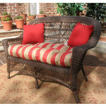 Madrid Resin Wicker Loveseat with Cushion - RUSTIC BROWN
