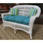 Madrid Resin Wicker Loveseat with Cushion - WHITE