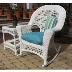 Madrid Resin Wicker Rocking Chairs - WHITE