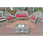 4 Piece Madrid Wicker Set with Cushions 2- Chairs - DRIFTWOOD